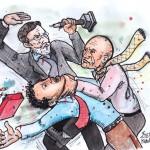 Ο Γιάνης έχει πιάσει από τον λαιμό τον Ντάισελμπλουμ. Ο Ισπανός πρωθυπουργός Ραχόι,τον χτυπά με ένα κηροπήγιο στο κεφάλι και απελευθερώνει τον δυστυχισμένο Ολλανδό.