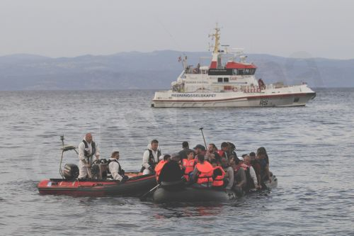 Refugees from Syria arrive at the coast of Mytilini, Greece