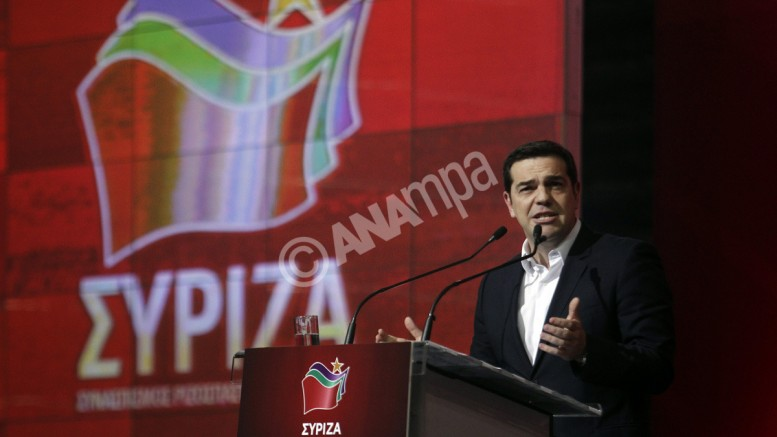 """Ο  Αλέξης Τσίπρας μιλάει  για τον ένα χρόνο κυβέρνησης ΣΥΡΙΖΑ-ΑΝΕΛ, στο γήπεδο του Τάε Κβον Ντο, στο Παλαιό Φάληρο. """"Προχωράμε»  ( ΑΠΕ-ΜΠΕ/ΑΠΕ-ΜΠΕ / ΑΛΕΞΑΝΔΡΟΣ ΒΛΑΧΟΣ)"""