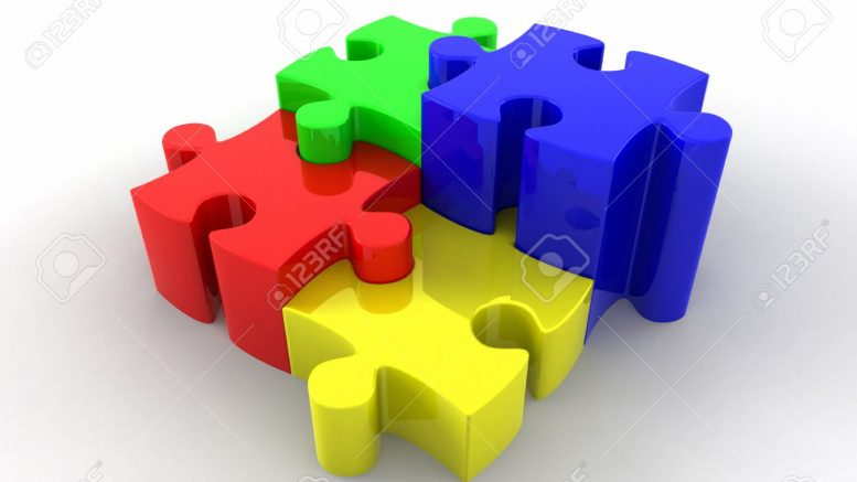 13200352-Brightly-coloured-3d-rendered-puzzle-pieces-interlocking-in-a-stepped-orientation-Stock-Photo