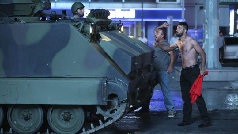 Turkish people gather to react against uprising attempt