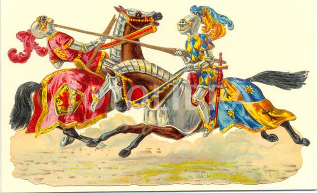 die cut scrap of medieval knights jousting